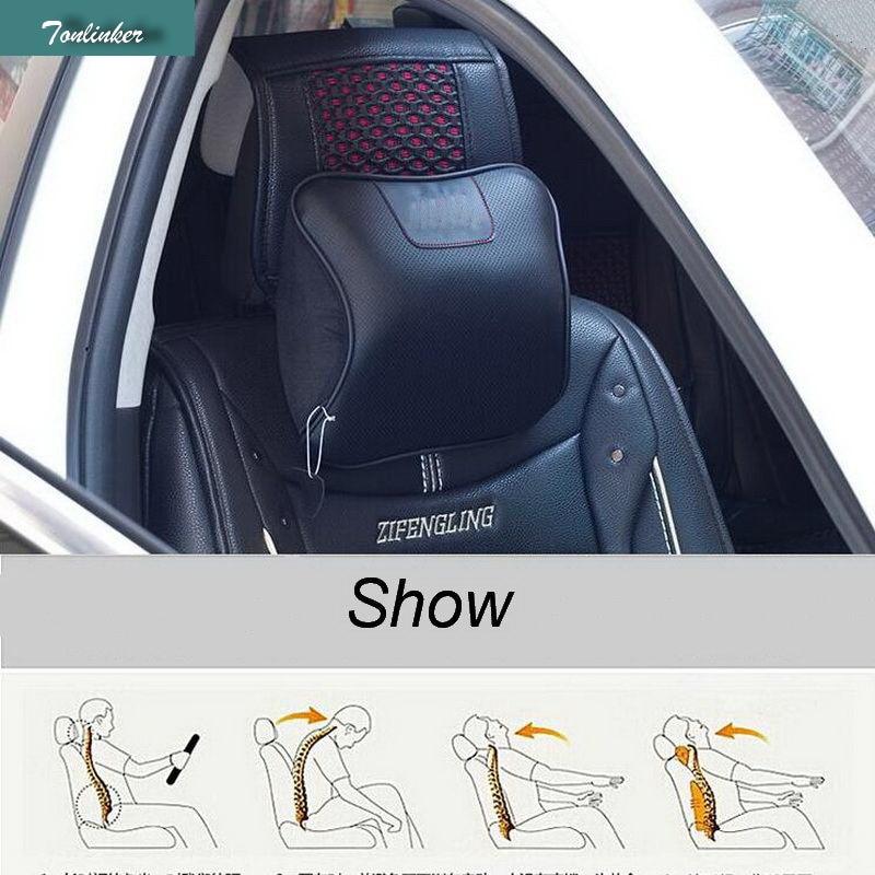1 Pcs DIY Car Styling PU Leather Car Seat Memory Cotton Automotive Headrest Cover Case Stickers