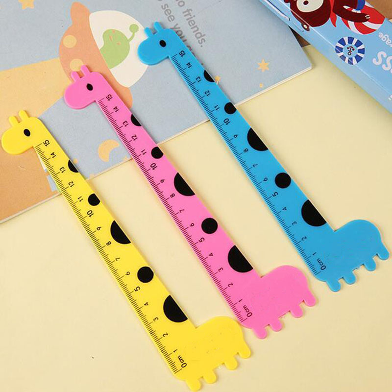 6Pcs/Set Cute 15cm Giraffe Ruler Student Favor Animal Rulers School Supplies Stationery Supplies
