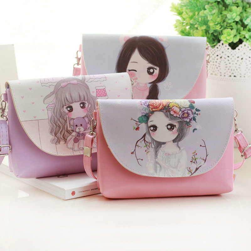 Girls Shoulder Bags Kids Messenger Bag Cartoon Printing Crossbody Bag Children PU Leather Satchel Gi