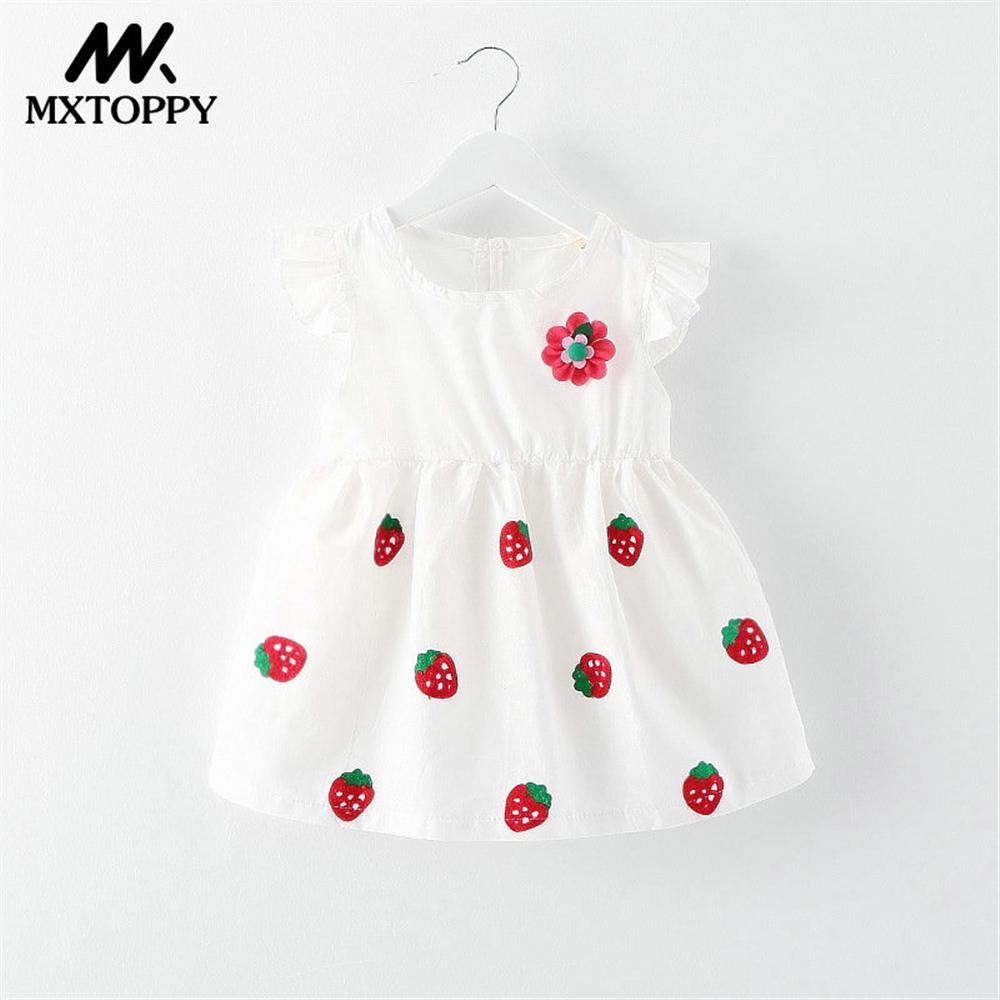 MXTOPYY Strawberry Baby Girls Dress 2018 Summer Printed Flower Baby Dress toddler Girls Clothing