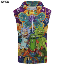 KYKU Brand Rick And Morty Hooded Tank Top Colorful Stringer Military Singlets Shirts Shirt Bodybuilding Mens Clothing Muscle