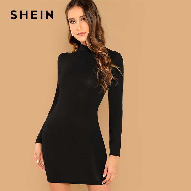 SHEIN Black Minimalist Office Lady Solid Bodycon Stand Collar Long Sleeve Skinny Dress 2018 Autumn Workwear Casual Women Dresses