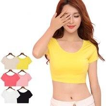 Одноцветный летний женский короткий топ, женские топы, сексуальные короткие женские футболки с коротким рукавом, 6 цветов, ssk013