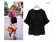 Womens large size womens loose short-sleeved shirt thin chiffon summer