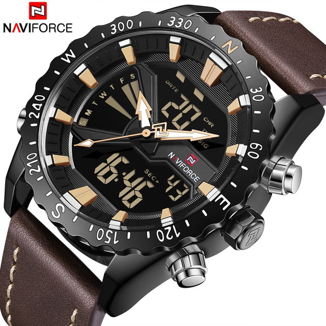 NAVIFORCE Mens Watches Leather Outdoor Sports Watches Men's Analog Quartz LED Digital Clock Waterproof Military Male Wrist Watch