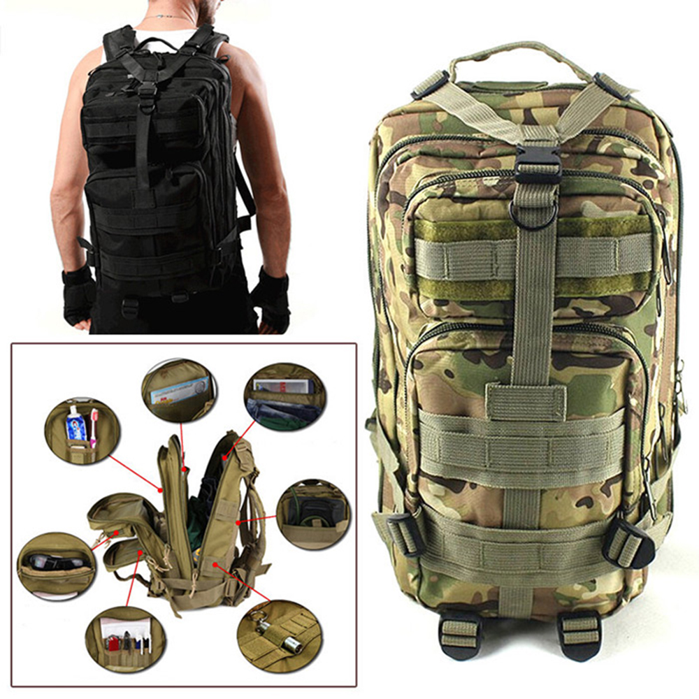 2017 3P Outdoor Military Tactical Backpack 30L Molle Bag Army Sport Travel Rucksack Camping Hiking Trekking Camouflage Bag 1