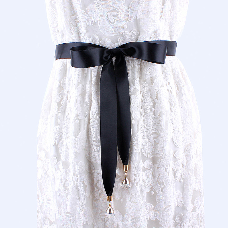fashion long black fabric   belt   for women dresses ladies solid silk scarf shirt ribbon knot waist rope female