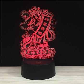цена Happy CNY Moeny God 3D Lamp 7 Colors USB Night Lamps LED Lights for religion new year gift Holiday Gifts Support Drop shipping онлайн в 2017 году