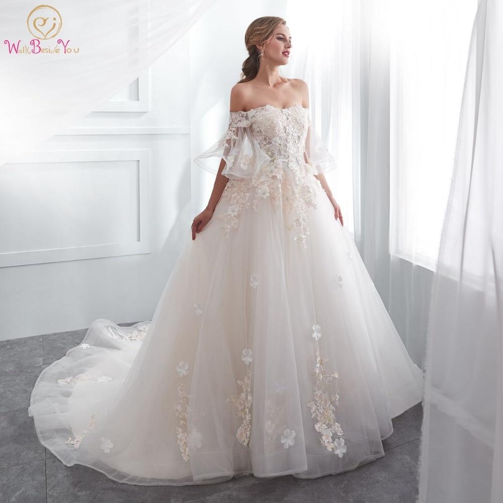 Walk Beside You Robe De Mariage 2018 Wedding Dresses Champagne Ball ...