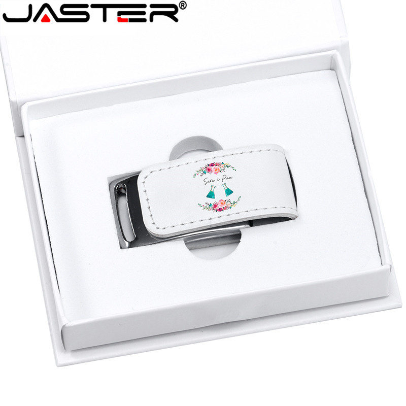 JASTER  Logo For Gifts 2.0 Flash Pen Drive 64GB 32GB 4GB 8GB 16GB Pendrive Leather Usb+white Box (Over 10pcs Free Logo)