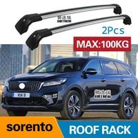 SHITURUI 2Pcs Roof bars For KIA sorento 2015 2016 2017 2018 Aluminum Alloy Side Bars Cross Rails Roof Rack Luggage Carrier