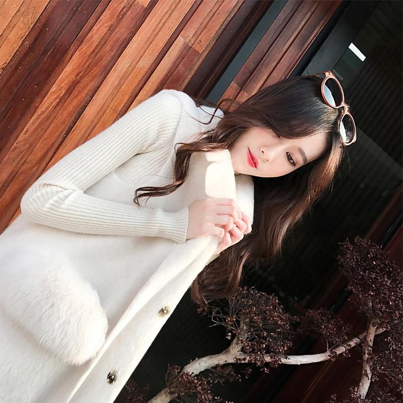 Automne Femmes Haute Section Longue De D'hiver white Gilet Lâche Laine Black Mode Manteau Veste Qualité 0wqrI0