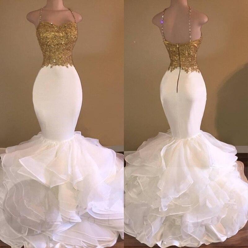 Gouden top witte organza Afrikaanse lange bruidsmeisjekleding 2018 - Bruiloft feestjurken - Foto 2