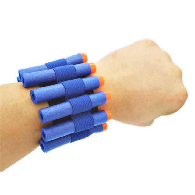 1pc Wrist Band With 10pcs Blue Soft Hollow Hole 7.2cm Refill Darts Toy Gun Bullets for nerf Series Blasters Kids Gift