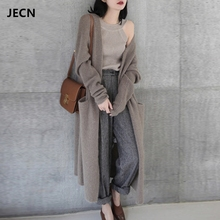 JECH2017 autumn and winter new sweater pure cashmere female V-neck thick pocket cardigan, knit long coat
