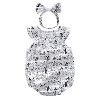 Cute Animal Infant Baby Girls Summer Triangle pack fart Romper Sunsuit+Headband Cotton Outfits Baby girl clothes