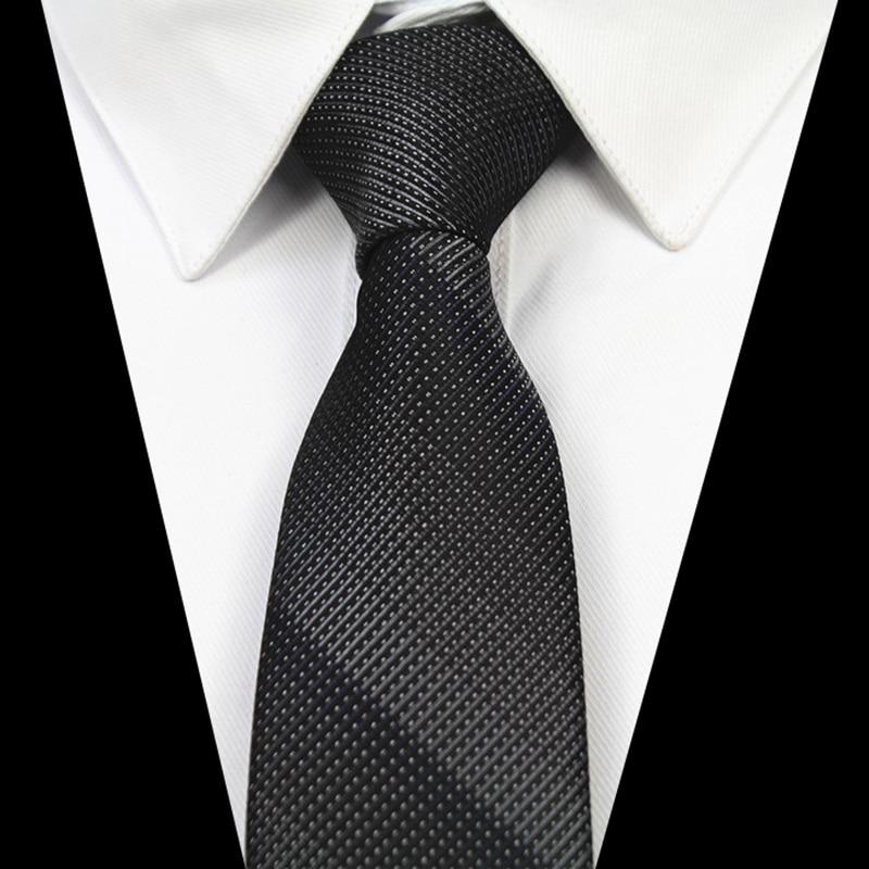 GUSLESON Fashion Quality Slim Tie 6cm Black Gray Skinny Narrow Gravata Silk Jacquard Woven Neckties For Men Wedding Party Groom