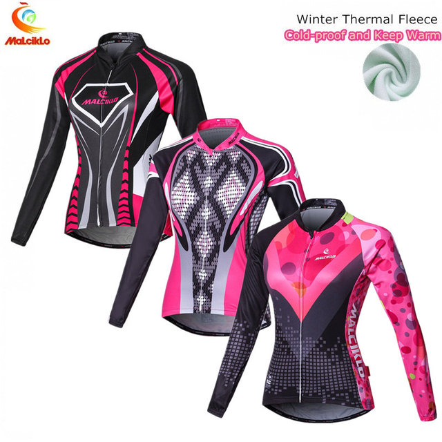 Plus Size Winter Cycling Jacket Women Pink Long Sleeve Cycling Sport  Clothing MTB Bike Bicycle Jersey Ropa Ciclismo Mujer 74530148f