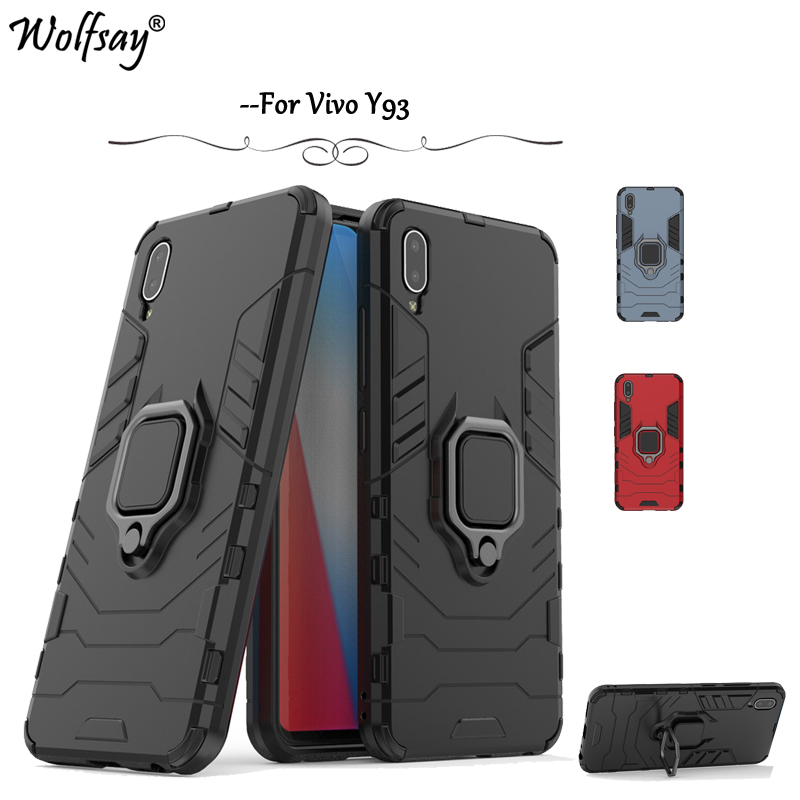 Vivo Y93 Case Armor Metal Finger Ring Holder Hard PC Phone Case For BBK Vivo Y93 Back Cover For BBK Vivo Y93 Kickstand Fundas
