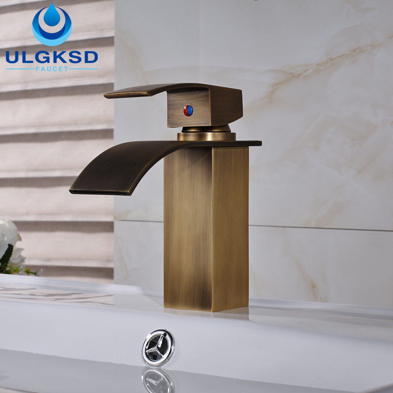 ULGKSD Free Shipping Antique Brass Bathroom Sink Faucet Single Lever Basin Mixer Tap free shipping single lever wall mounted vessel basin sink faucet mixer tap black color