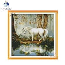 Joy sunday licorne décoration de jardin, ensemble de toile imprimée sur peinture à la main comptes, Kits de points de croix, couture, 11CT, 14CT