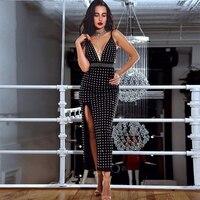 Newest Summer Celebrity Party Women Dress Black Spaghetti Strap V Neck Beading Sexy Split Backless Dress Women Vestidos