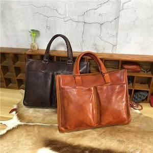 0e8ab1efbb AETOO cream retro casual bag color leather men s briefcase