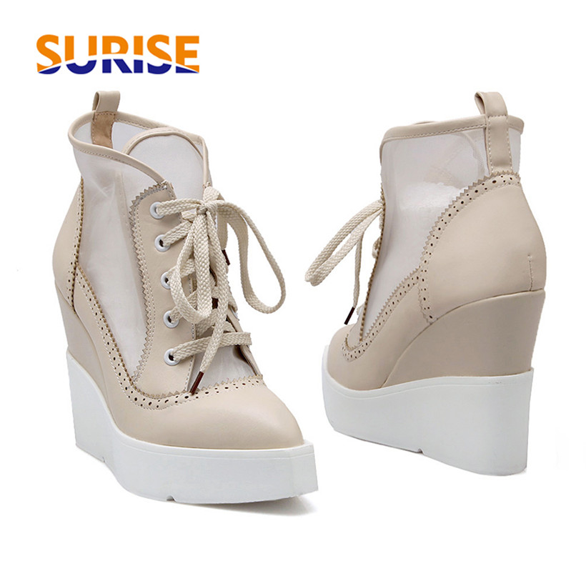 Summer High Heels Wedge Platform Women Short Boots PU Leather Mesh Pointed Toe Casual Party Punk