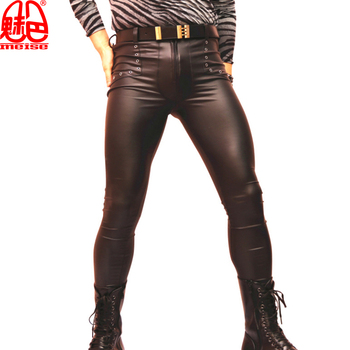 Sexy Men Latex Faux Leather Skinny Tight Pants Matte Shiny Fashion Pencil Pants Punk Hollow Legging Pants Gay Wear F115