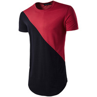 Mens Hipster Hip Hop Short Sleeve Patchwork Longline T Shirts Fashion Rounded Hem Urban Clothing O