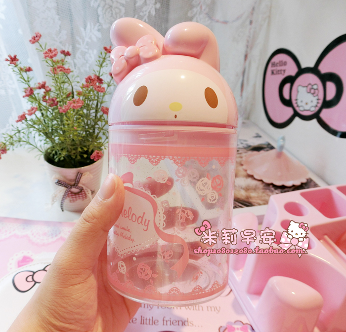 Cartoon Melody Rabbit Cat Plastic Cotton Swab Box Storage For Girls Collection