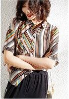 100% шелк тутового цвета блузки разноцветная одежда в полоску летние Необычные топы с бахромой Свободные повседневные шикарные Ins богемная р