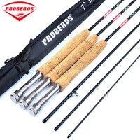 PRO BEROS 7ft Carbon Fiber Lure Hard Fly Fishing Rod 2.1M 4 Section Fishing Pole Line Wt 3/4 5/6 7/8 Cork Handle Fishing Tackle