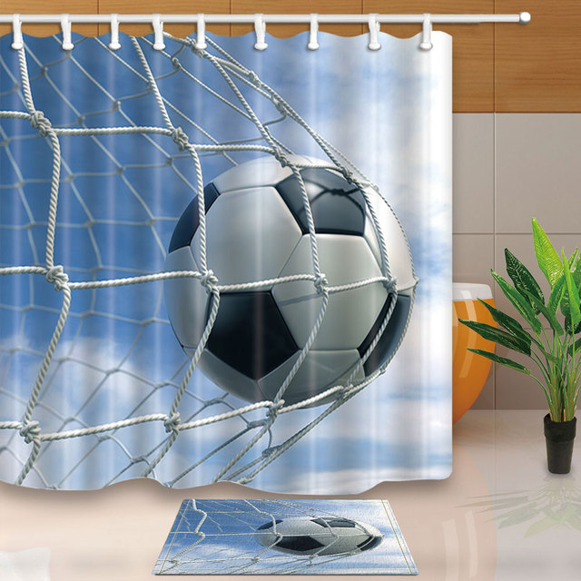 High Quality Shower Curtains Football Blue Sky Bathroom Creative Design Waterproof Mildew Proof With 12