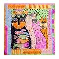 [LESIDA] 2016 NUEVO Animal Print Pequeña Plaza Pañuelo de Seda Pura del Satén Accesorios de Cuello Para Las Mujeres Bufandas Con Los Gatos de Diseño XF1042