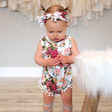 Baby Girls Rompers Sleeveless Romper Clothing with Headband Cotton O-Neck 0-12M Novel Newborn Baby Clothes Floral Jumpsuit