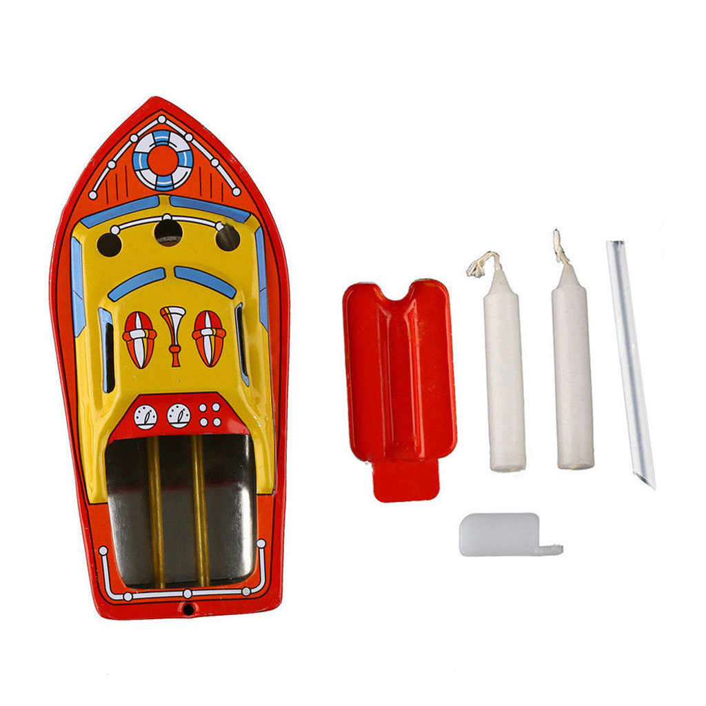 2019 Vintage Boat Retro Steam Powerd Collectable Toy Boat Educational Recycle Retro Tin Toys Gifts Candles Powered Put Ship Boat