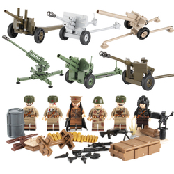 WW2 Military Soldiers Figures Building Blocks Soviet Union Weapon Blocks Brick Parts Army Russia Artillery Cannon Model Toys