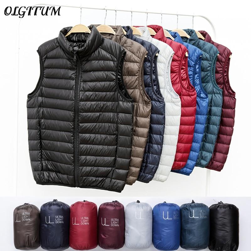 Winter New Men White Duck Down Vest Ultralight Sleeveless Vest Jacket Fashion Stand Collar Men Large Size Loose Vest
