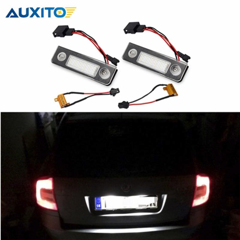For VW <font><b>Skoda</b></font> <font><b>Octavia</b></font> 1Z Roomster 5J CANBUS Car <font><b>LED</b></font> Number License Plate Lights Error Free 3528 SMD White Number Plate Lamp