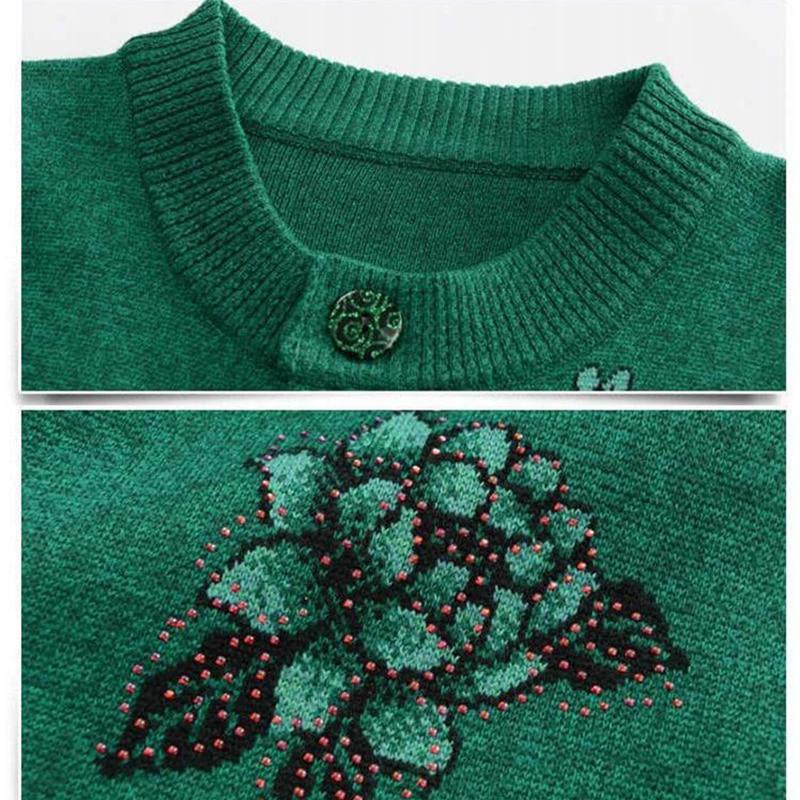 Vintage Print Mom Gestrickte Mantel Heißer Verkauf frauen Einreiher Strickjacke Pullover Jacke Kurzen Absatz Lange Hülse Femme Tops