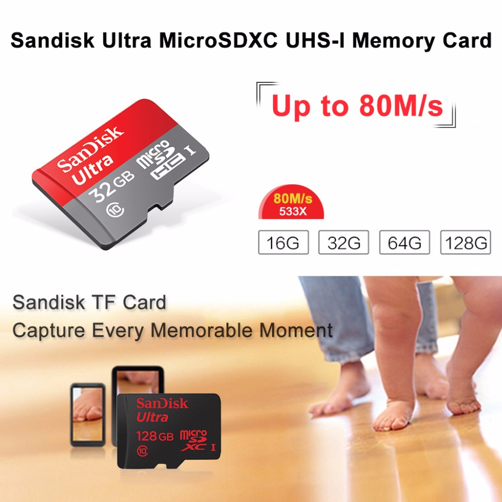 Original Sandisk Class 10 Micro Sd 32gb 80mb S C10 Card Ultra Memory Microsd 80 Mbps 64 Gb 16gb 64gb For Tablets Mobile Phone Tf In Cards From Computer