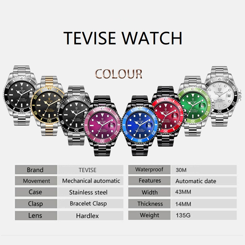 Image 3 - Tevise Luxury Waterproof Automatic Men Mechanical Watch Auto Date Full Steel Business Top Brand Man Watches Water Resistant T801-in Mechanical Watches from Watches