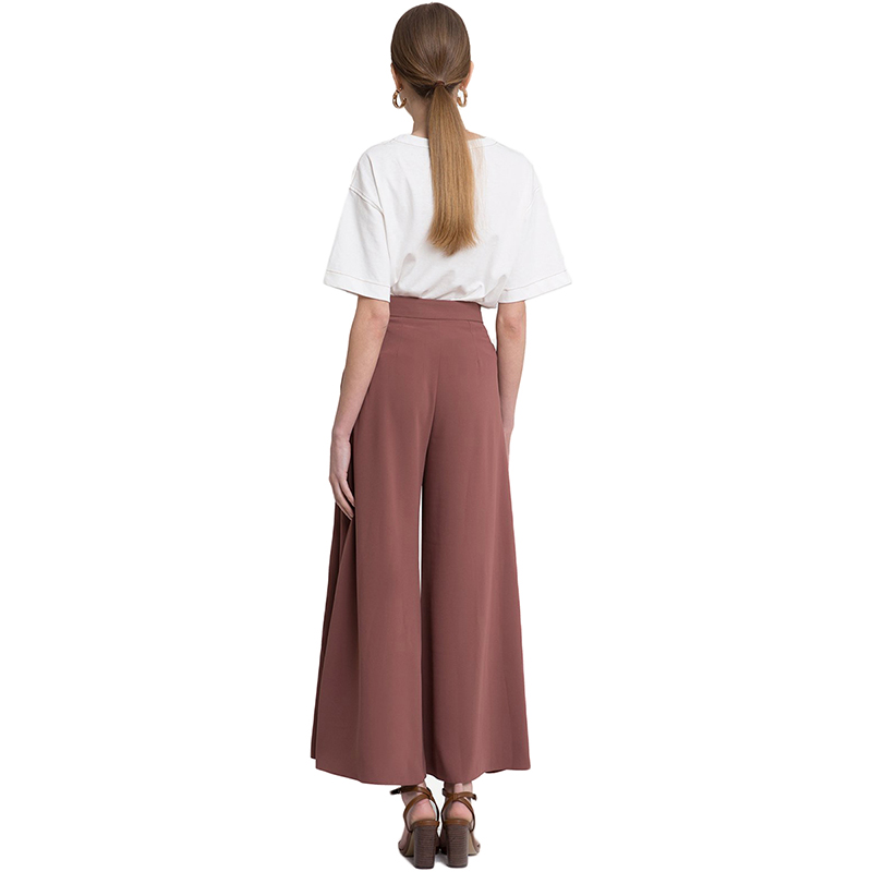 HDY Haoduoyi Woman 2019 New High Waist Wide Leg Loose Pants Solid Office Lady Brief Trousers For Female 7