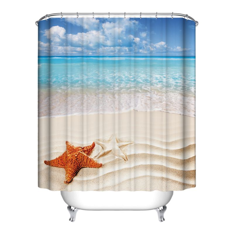 1.8M Various Exquisite Bathroom Shower Curtain Sheer Waterproof Panel Sheer Decoration 12 Hooks