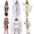 Trajes de Halloween Egito Antigo Faraó Egípcio Rei Imperatriz Cleópatra Rainha Sacerdote Traje Cosplay Roupas para Mulheres Dos Homens