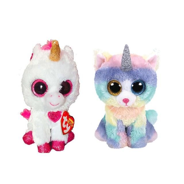 2d8faf63e8b TY Beanie Boos 15cm Unicorn Cat White Heart Unicorn Dog Olw Alpaca Plush  Toys Big Eyes
