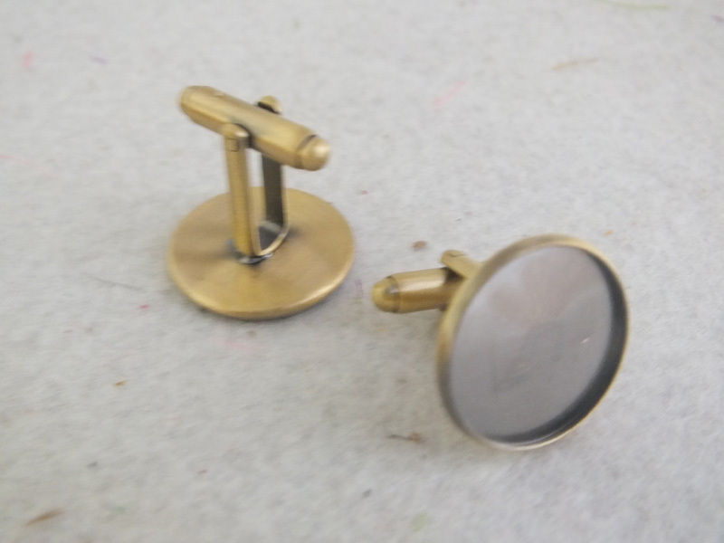 Cufflink Blank French Findings Pad Bronze 16mm Z-3380 Antique