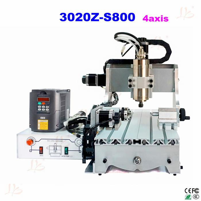 3020Z-S800 4 AXIS cnc router with 800W spindle, mini cnc milling machine for metal wood cnc 5axis a aixs rotary axis t chuck type for cnc router cnc milling machine best quality