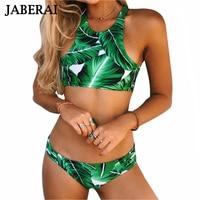 JABERAI Women Swimwear 2017 Green Leaves Print Bikini Set High Neck Swimsuit Brazilian Beach Bathing Suit